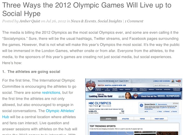 Three Ways the 2012 Olympic Games Will Live up to Social Hype
