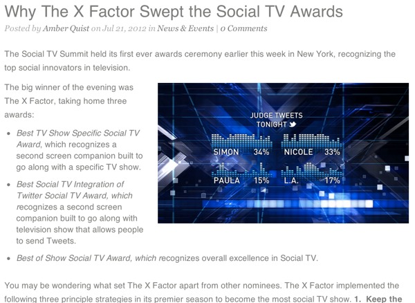 Why The X Factor Swept the Social TV Awards